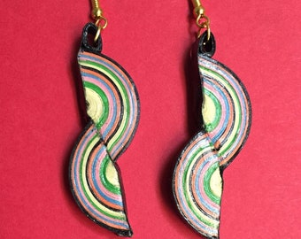 Quilled Paper Earrings: Rainbow Twisted