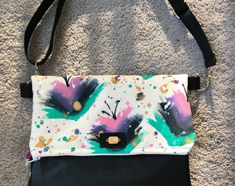 Hand painted folded crossbody bag