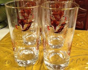 Mid-Century Modern Fox Hunt Bar Glasses Set of Six