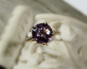 Amethyst Ring, Bella Ring, Sterling Silver, Cocktail, non traditional, made to order, 14k gold