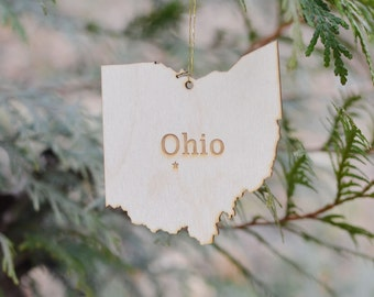 Natural Wood Ohio State Ornament