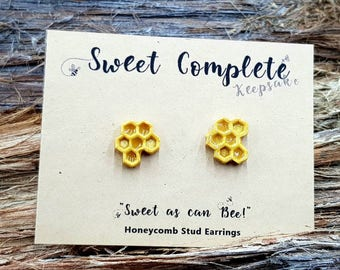 Honeycomb Stud Earrings for the nature lover