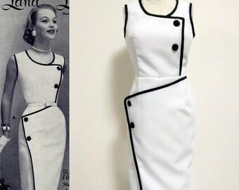 Vintage 50s/ 1950s dress/ Pencil dress/ Rockabilly/ Madmen/ White Dress/ Custom dress/ Hollywood Glamour/ Tailored Dress/ Work dress