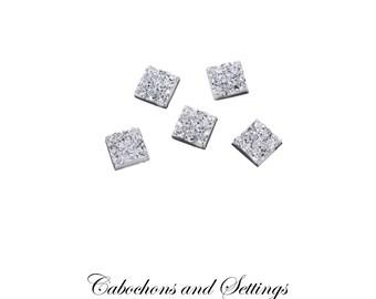 10 x  Silver Ice  12mm Square  Bezel Cabochons - AUSTRALIA11.5 - 12mm