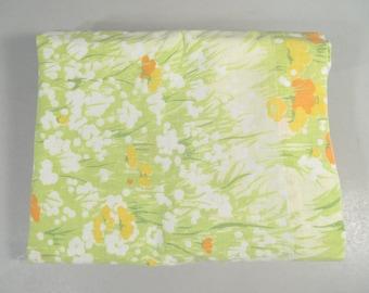Vintage full sheet, double sheet, full flat sheet, 1960s mid century modern, green grass with yellow orange wildflower print, floral print