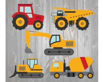 Construction Tractor Dozer Excavator Mixer Dump Truck SVG DXF Cut File