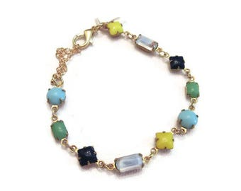 Jewel Bracelet,Gemstone Bracelet for Women,Dainty Bracelet Gold,Colorful Bracelet,Colorful Bracelet for Women,Geometric Bracelet