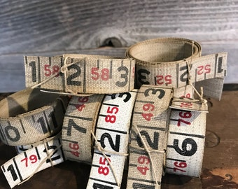 Vintage Canvas MEASURING TAPE- Roll 3 Feet- Mixed Media Art Supply- Red and Black Numbers- Altered Art Supply- Ruler