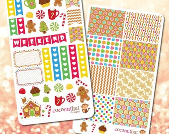 Gingerbread / Holiday / Christmas / Winter Theme Planner Stickers