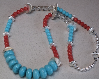"NEW Huge Necklace Turquoise Rondelle and Round Red Jade Coral with Crystal Rondelles 31-1/8"" Long, Turquoise, Jade, Coral"
