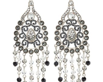 Silver Toned Intricate Chandelier Earrings Layered With Swarovski Crystals