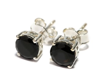 Black Onyx Gemstone Sterling Silver Stud Earrings Simple Jewellery Dainty Jewellery  Free UK Delivery Gift Boxed