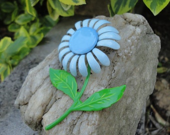 Vintage Shades of Blue and Green  Enamel Flower Brooch/Pin. Mod Flower Power Brooch. 1960s-1970s Flower.