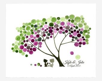 Wedding Gift custom names art print - Wall decor bridal shower anniversary gift - HEART CATS design by Genu