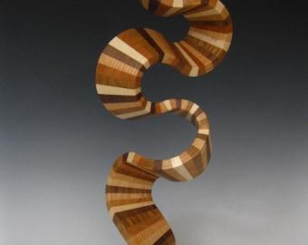 Modern wood abstract sculpture