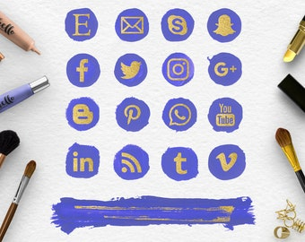 NORDIC BLUE & GOLD, Follow Social Media Icons And Brush Stroke, Handpainted Spots, Makeup Round Social Icons, Transparent Png File, BUY5FOR8