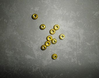 set of 10 gold metal round beads