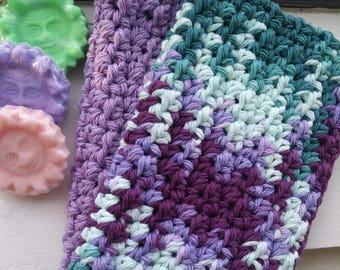 Dish Cloths, Facial Cloths, Wash Cloth, Crochet Cloth, Cotton Wash Cloth, set of 2 in Spring Colors