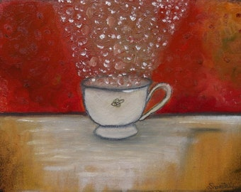 """Whimsical tea cup """"Icy Melody"""" Original Oil Painting"""