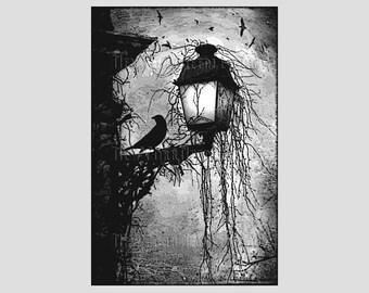 Crow on Lamppost Cross Stitch, Raven Cross Stitch, Raven Silhouette, Crow Cross Stitch, Raven, Crow, Needlepoint NewYorkNeedleworks on Etsy