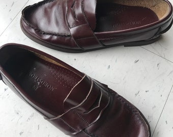 Vintage Penny Loafers 80s Nordstrom Size 7 Mahogany Leaather Original Penny Loafer Preppy 80s 90s