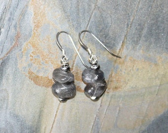 Labradorite Earrings, Natural Stone Earrings, Sterling Silver Earrings, Gray Earrings, Handmade Gray Stone Earrings, Gemstone Earrings