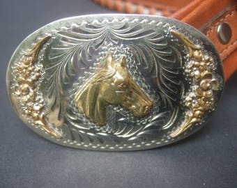 Handmade Artisan Western Brown Leather Equine Buckle Belt
