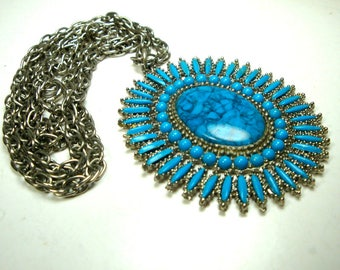 Southwestern Native American Zuni Style Turquoise Silver Pendant, on Chain, A Sunburst Tribal Classic, 1980s Immaculate