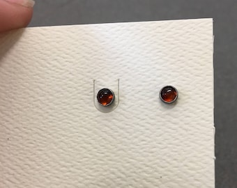 Natural Baltic Amber Silver Stud Earrings