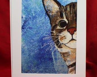 Tabby Cat Original Painting, Tiger Striped Cat Wall Art, Blue Cat Peeking Art Print, Cute Cat Wall Art, Cat Gifts for her, him, chidren