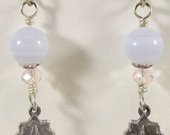 Sterling Silver Catholic Miraculous Medal Earrings with Chalcedony and Sterling Silver Beadcaps