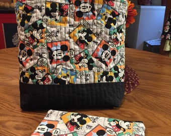 Quilted Mickey Mouse Purse/Tote with Matching Zipper Pouch. Handmade