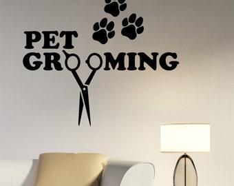 Pet Grooming Wall Sticker Vinyl Decal Window Logo Animal Decorations Pet Dog Puppy Shop Salon Decor petg3