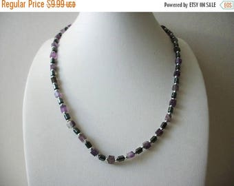 ON SALE Retro Hematite Amethyst Semi Precious Stones Necklace 70606