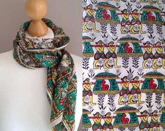 Indien handbedruckt ethnischen Motiv Seiden Foulard Schal Wrap Bandana, Hippie Retro Seide Schal Boho psychedelischen Zubehör Handbedruckt in Indien