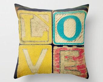 Ancien amour - Art oreiller Housse étui - photographie, Vintage, blocs, lettres, Alphabet, jouets,