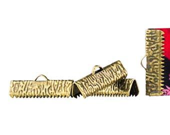 150 pieces  22mm  (7/8 inch)  Antique Bronze Ribbon Clamp End Crimps - Artisan Series