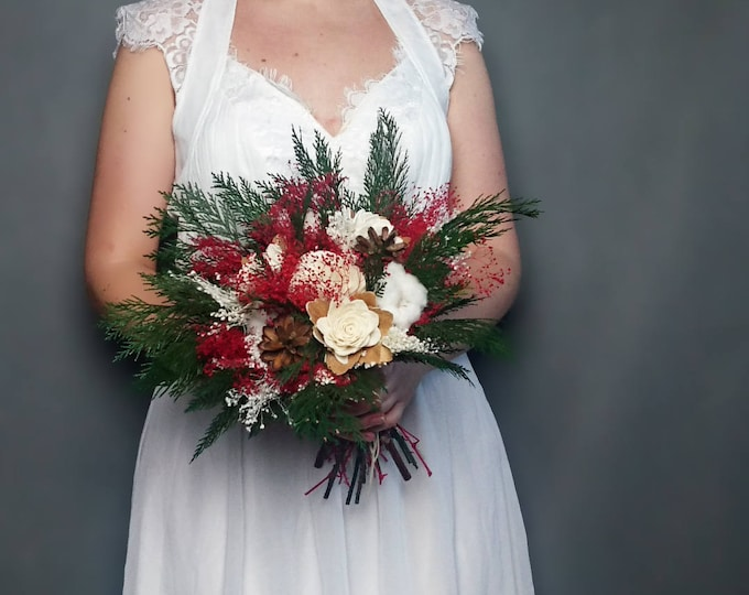 Winter wedding bouquet pine cones cotton bolls preserved thuja red green white ivory sola flowers gypsophila bridal natural