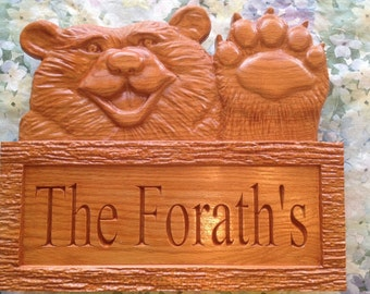 Your Name on this Waving Bear Sign  (with Free Shipping)