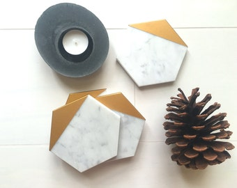 35% OFF***   Limited Time. Hexagon Marble Coasters. Set of 4. Bianco Gioia Gold Painted Honed Marble. Geometric Coasters