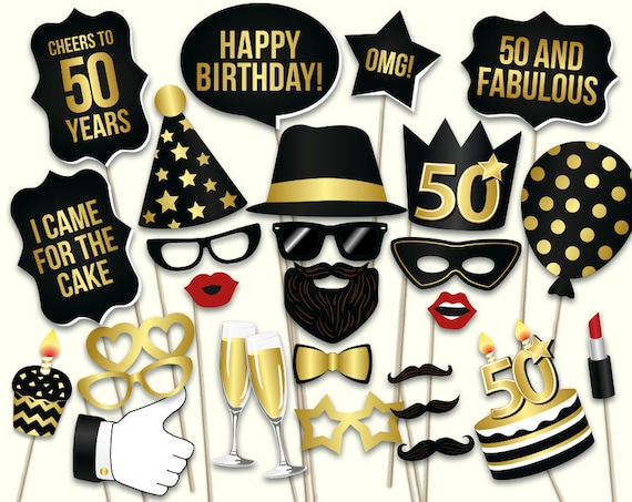 50th birthday photo booth props printable PDF Black and gold