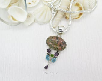 Rainforest Jasper Amethyst Blue Topaz Sterling Silver Pendant and Chain