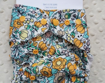One Size, cloth diaper cover, fleece lined PUL with AI2 option, Birdie Bloom spring flowers