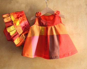 Baby Cotton Dress Bloomer Colorful Set for Girl Baby, Baby summer Dress, Baby Outfit Classic Retro Dress, 1st Bday toddler girl party dress