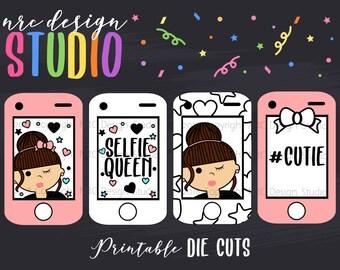 SALE Planner Die Cuts Printable, Selfie Die Cuts, Planner Frame Die Cuts, Planner Girl, Phone Die Cuts - Planner Accessories V2