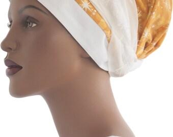 Wrap Scarf Tichel Golden White Stars Eyelash Trim Haircovering Headcovering Jewish Modest Headwrap
