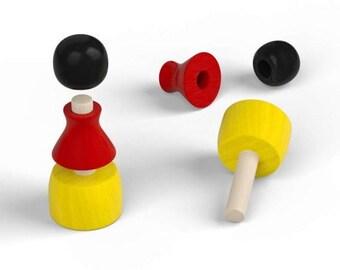 10x  3-part wooden pawns