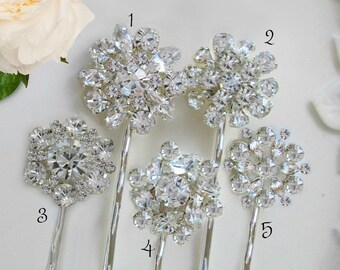 U Choose,5 Bridal hair pins, crystal bobby pins, Wedding accessory, bridesmaid gift ideas, rhinestone clip, hair brooch, wedding hair pins