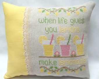 Lemonade Cross Stitch Pillow, When Life Gives You Lemons Make Lemonade, Summer Decor