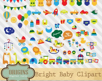 Bright Baby Shower Clipart, Bright Colors Vehicles, Jungle Safari Animals,  Banners, Gender